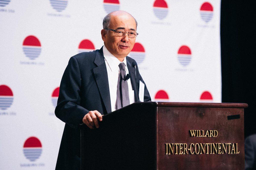 Ambassador Ken-Ichiro Sasae speaks at the Third Annual Security Forum 2016 put on by Sasakawa USA, which administers the JUMP Program. Photo credit: Joy Asico (www.asicophoto.com)
